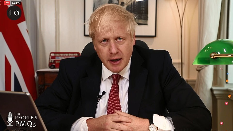 Mr Johnson (pictured in a People's PMQs on Facebook today) tore into rebel MPs who have protested his decision to shut down the Commons on Monday, saying they had repeatedly turned down the chance of a general election