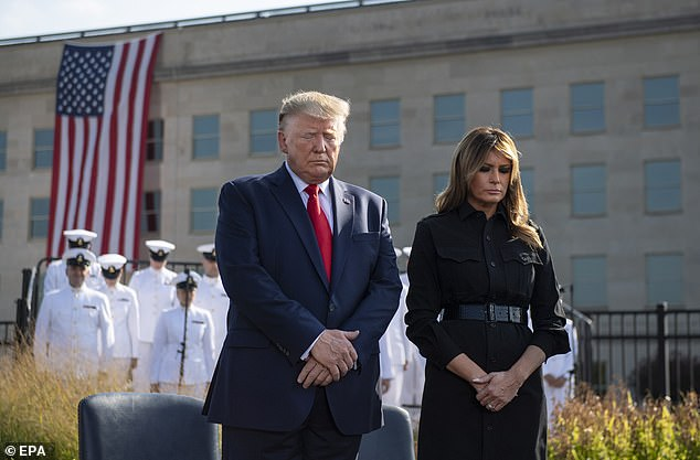 President Donald Trump and First Lady Melania Trump participate in a moment of silence at a ceremony at the Pentagon during the 18th anniversary commemoration ceremony of the September 11 terrorist attacks, in Arlington, Virginia, USA, 11 September 2019