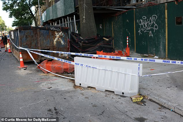 A police barrier has been erected to prevent the public from entering into the area of the crash