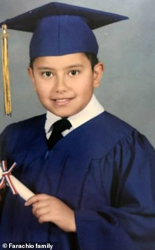 Enzo Farachio was waiting for a bus and believed to have been looking at his phone when a gray Lexus SUV fatally struck him in Midwood, New York. His family have released a photo of the sixth-grade