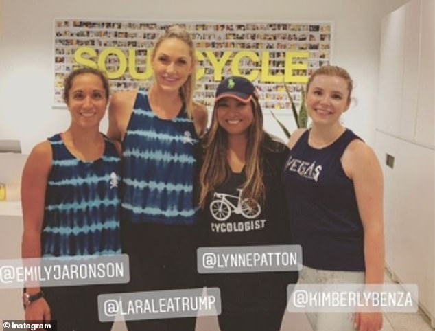 Busy: Lara later took a charity Soul Cycle class withher friend Emily Aronson, Trump aide Lynne Patton, and Eric's assistant Kimberly Benza (left to right)
