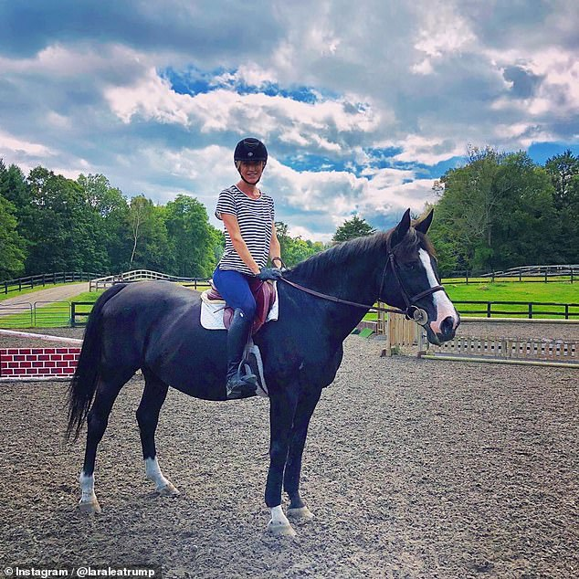 Happy:Over the weekend, the avid equestrian shared a photo of herself riding a horse at a stable in Bedford Hills, New York, writing: 'So stoked!! I'm back!'