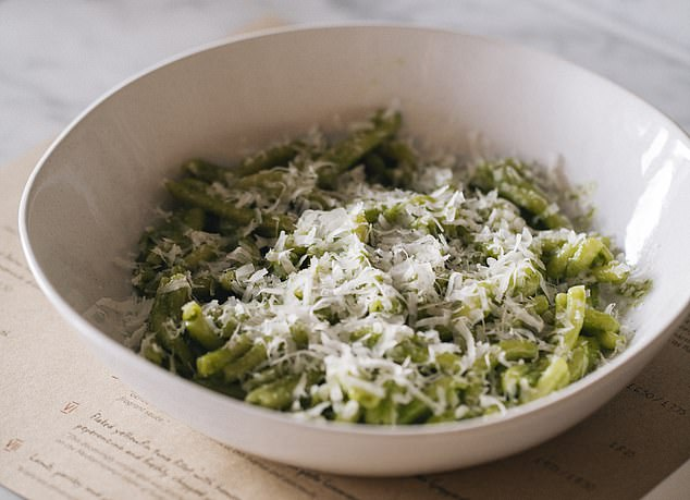 With pesto, you need a shape such as casarecce, a small fresh pasta, shaped alike to a figure of eight. Stock image