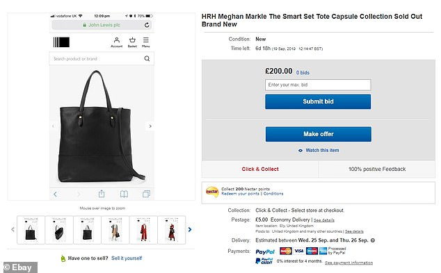 Meanwhile the black tote is on the site at £200, despite costing £109 in John Lewis