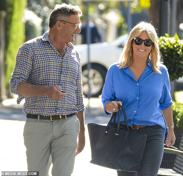Going public: It has been common knowledge for months, but Sam Armytage finally confirmed her relationship with equestrian businessman Richard Lavender on Thursday. Pictured together in in Double Bay, Sydney, on September 4