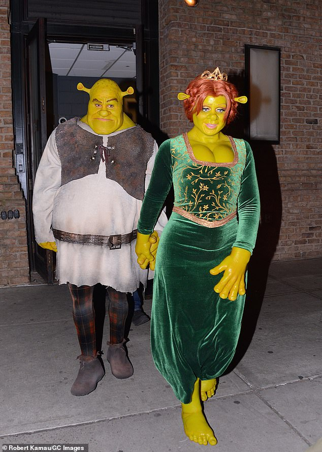'Queen of Halloween': Last year, the pretty presenter and the 30-year-old Tokio Hotel guitarist went to her Halloween bash as Shrek and Princess Fiona (pictured October 31)