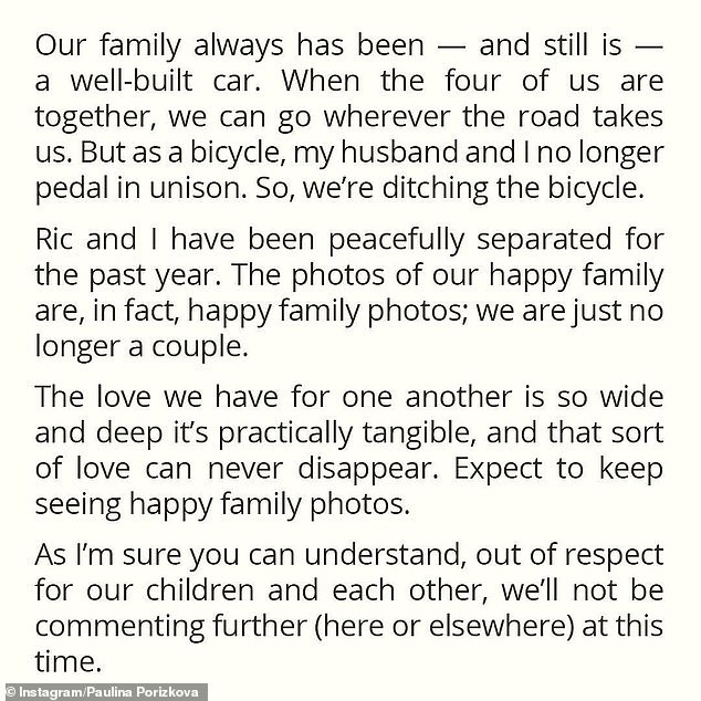 Candid post: Paulina shared this message on Instagram in regards to their split