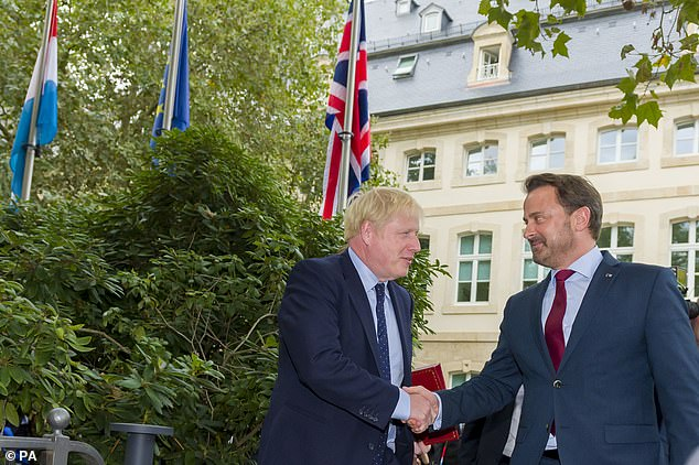 Mr Bettel greeted Mr Johnson ahead of their meeting at the prime minister's office in Luxembourg yesterday