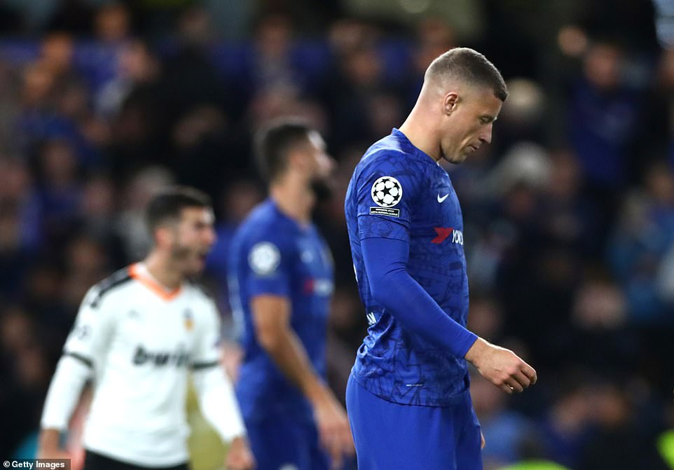 Chelsea midfielder Ross Barkley looks dejected after missing a penalty in the dying minutes against Valencia