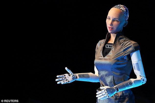 The humanoid robot Sophia, speaking during an event in Mexico City earlier this month.Sister and theologian Ilia Delio suggest AI will be used to conduct Catholic ceremonies
