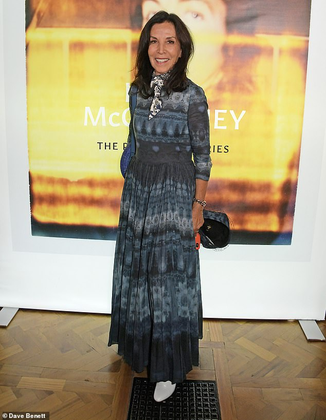 Chic: Olivia Harrison - who was married to Beatle George for 23 years until his death in 2001 - also oozed boho chic in a tie-dye maxi dress as she attended the launch