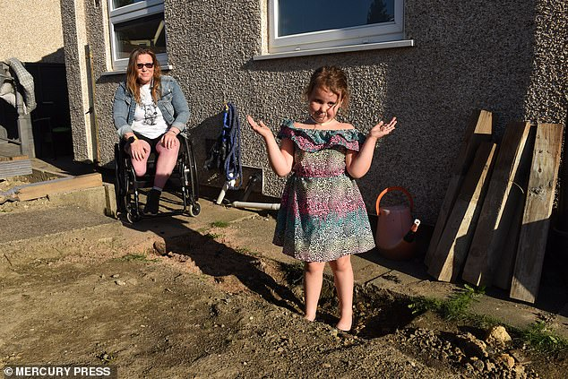 A flat surface and ramp would allow Ms Satchwell to get into the garden easily in her wheelchair, and Gia would like slides and swings.