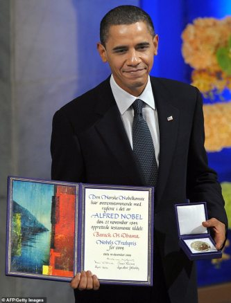 Barack Obama in Oslo in December 2009, receiving his Noble Peace Prize