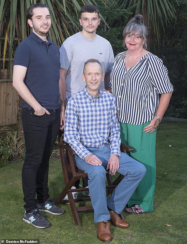 Richard Worthington was just 20 when, with his health fading fast as an infection had doubled the size of his heart, he underwent a transplant.He is pictured with his wife is Deborah and his boys George (right) and Connor