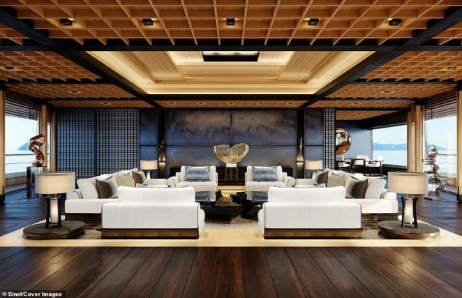 The upper-deck lounge area leads directly off the owner's pavilion area and has floor-to-ceiling windows as well as views out over the outdoor entertaining space. It can be used either as a casual entertaining space, or for al-fresco dining