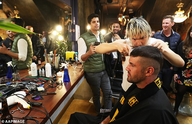 More than 40 ecstatic fans swarmed into the Swan Street barbershop to take advantage of the unique offer