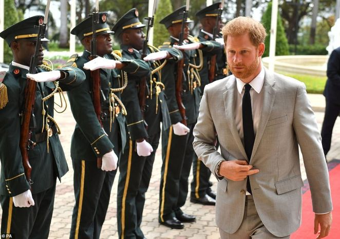 The Duke of Sussex arrives for an audience at the presidential palace in Luanda, Angola on day six of the royal tour