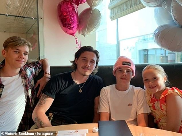 Family:Victoria and husband David, who she married in 1999, are also parents to (L-R) Romeo, 17, Brooklyn, 20, and Cruz, 14
