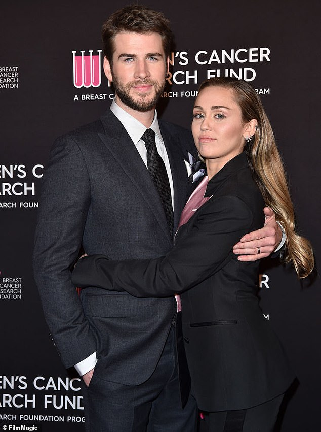 Miley and Liam officially announced their split on August 10, though they had been spotted without wedding rings as early as June; pictured in February