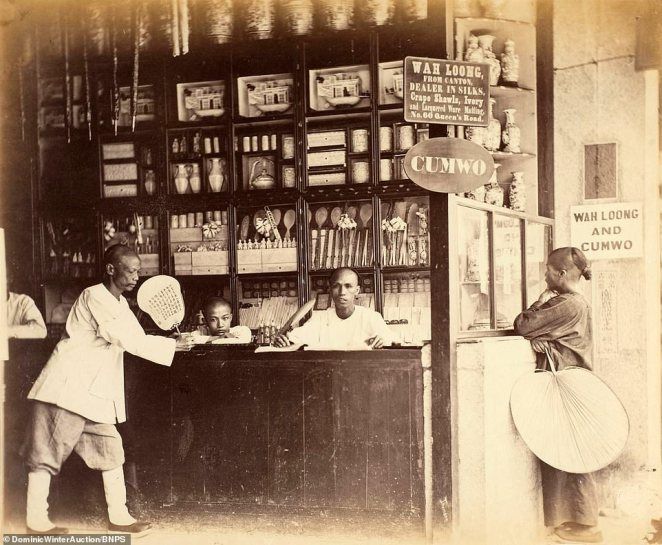 A Chinese shop 'Wah Loong' which imported goods from nearby Canton and sold silk, crape shawls and ivory