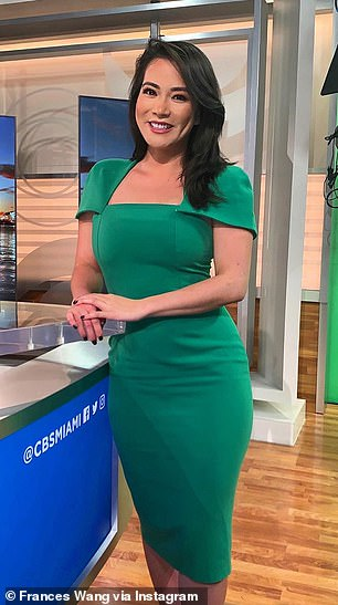 For months Wang's eczema was coupled with acne and a rash on her mouth and forehead. Pictured: Wang in the CBS studio