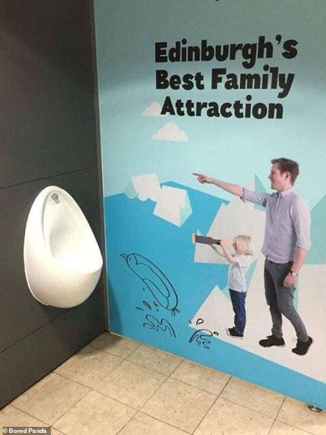 What a dive! Meanwhile, a very public urinal in Edinburgh, Scotland, has amusingly been placed next to a tourist advert