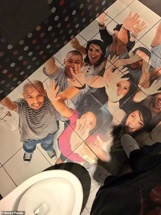 Helping hand! This toilet, at an unknown location, looks as if people are trapped in the floor - and are watching users go to the toilet