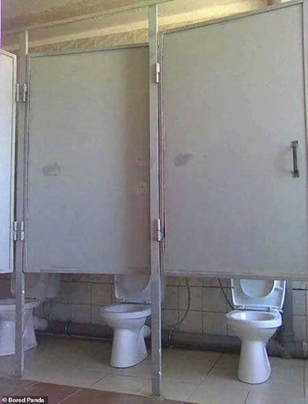 Caught short! These toilets, pictured in an unknown location, show some very useless doors...