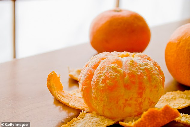 According to Healthline, the peel has three times more vitamin C and four times more fibre than the fruit (stock image)