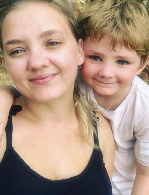 Andrea Groening only had her provisional licence for about six weeks when she had a horror crash at Wishart in the Northern Territory which killed her seven-year-old son Mehali Anastasios Pastrikos (pictured together)