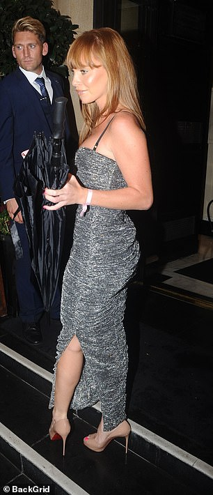Looking good: Summer added height to her frame with a pair of nude heels while she let her flame-haired locks fall loose down her shoulders for the evening
