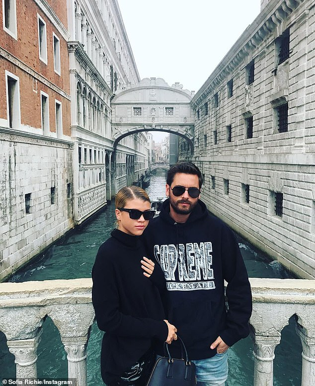 Happy:The lovebirds first sparked rumors of a romance in summer of 2017, but then went public with their romance in September of that same year; pictured October 17, 2017 in Venice