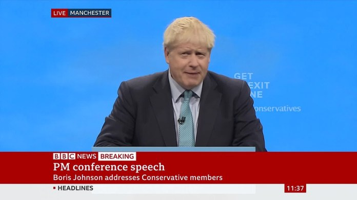 Addressing party conference for the first time as PM, Mr Johnson again made clear that he will not beg Brussels for an extension - saying they must choose between his new 'compromise' plan and No Deal