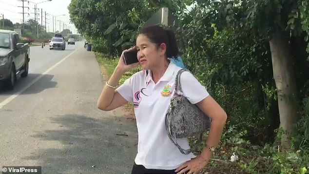 Napha Kaewmanee was left shaken by the accident but was otherwise left unharmed by the event