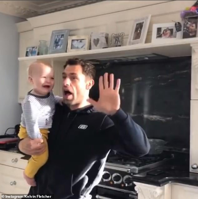 Tender moments:Kelvin Fletcher enlisted the help of his son Milo, 10 months, to rehearse for Movie Week as they twirled around their kitchen in a sweet Instagram clip on Wednesday