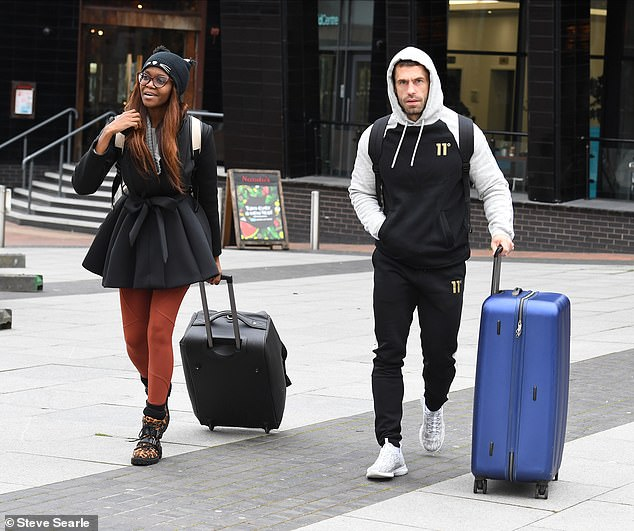 Off they go: Theracing driver and the ballroom pro, 29, opted for comfort in casual ensembles as they headed to rehearsals