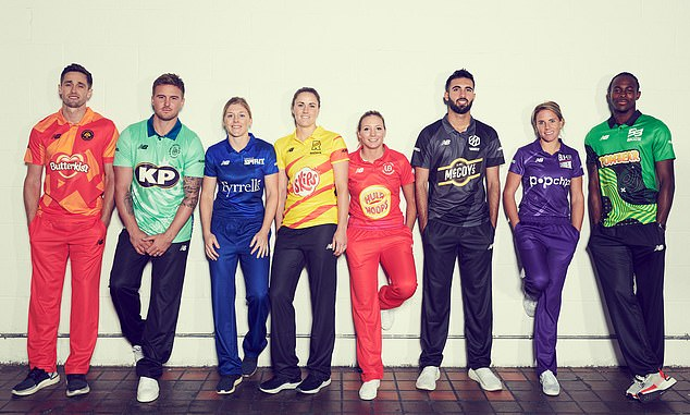 The England and Wales Cricket Board previewed the teams' kits yesterday, all of which carry brands from KP Snacks, ahead of 'The Hundred' tournament next summer