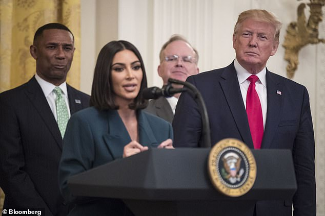 Kardashian (pictured with President Trump) has been actively involved with prison reform since 2018. She is pictured here at the White House in June 2019
