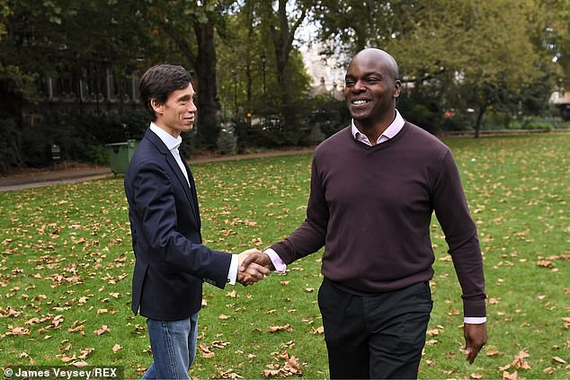 London Mayoral candidates Rory Stewart and Shaun Bailey on Victoria Tower Gardens, London