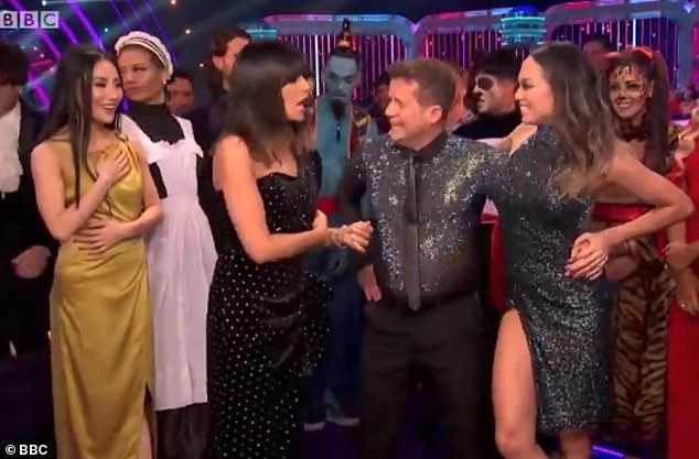 Recovery: Katya and Mike laughed off the stumbles as Claudia asked if the dancer was ok