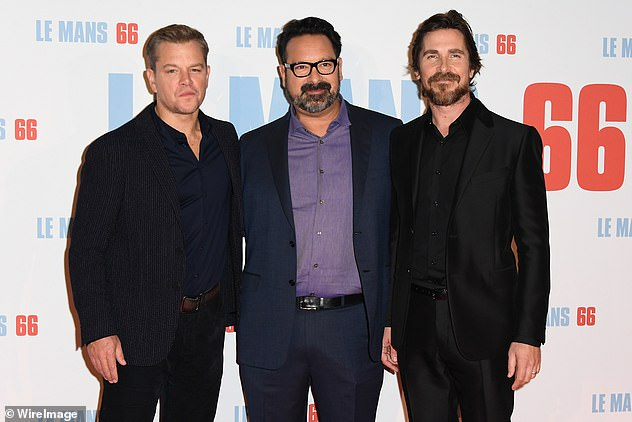 Teamwork: Matt and Christian posed for a picture with director James Mangold at the event