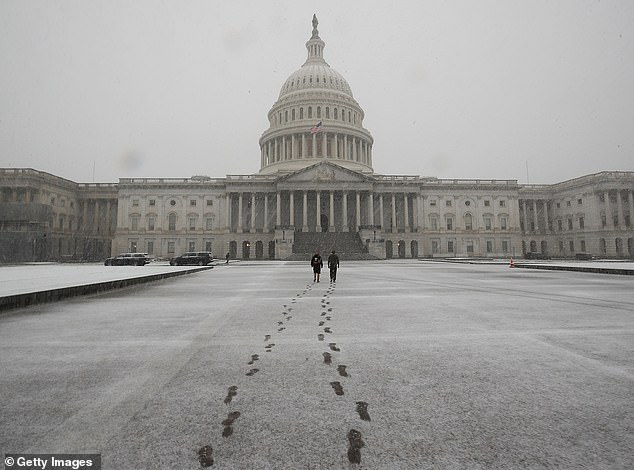 Winter isn't expected to be as brutal further south, including in Washington, DC (pictured above after a November 2018 snowfall), and Baltimore, as the Southeast gets hit with more of a mix of rain and snow.