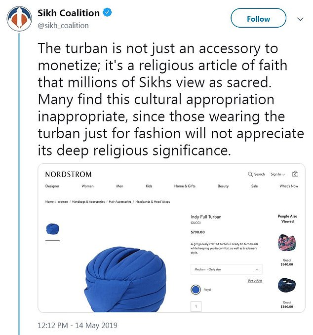 The Sikh Coalition and others called out both Gucci and Nordstrom for offering the item