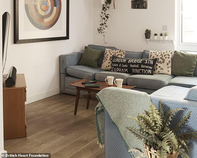 The home update, which cost less than £1700, included a newbed and mattress for £150, four chairs for £40, bedside tables for £15 each, sets of draws for £20 and wooden wardrobes from £120. Pictured: The living room after