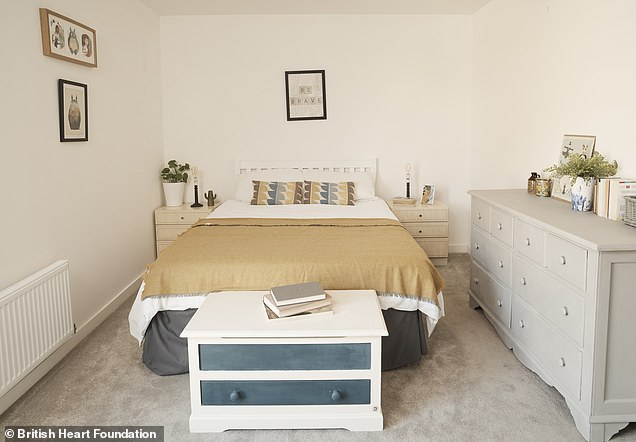 The pair, who share the house with four other junior doctors,have completely transformed their home using stock only from charity shops in an effort to be sustainable. Pictured: One bedroom after