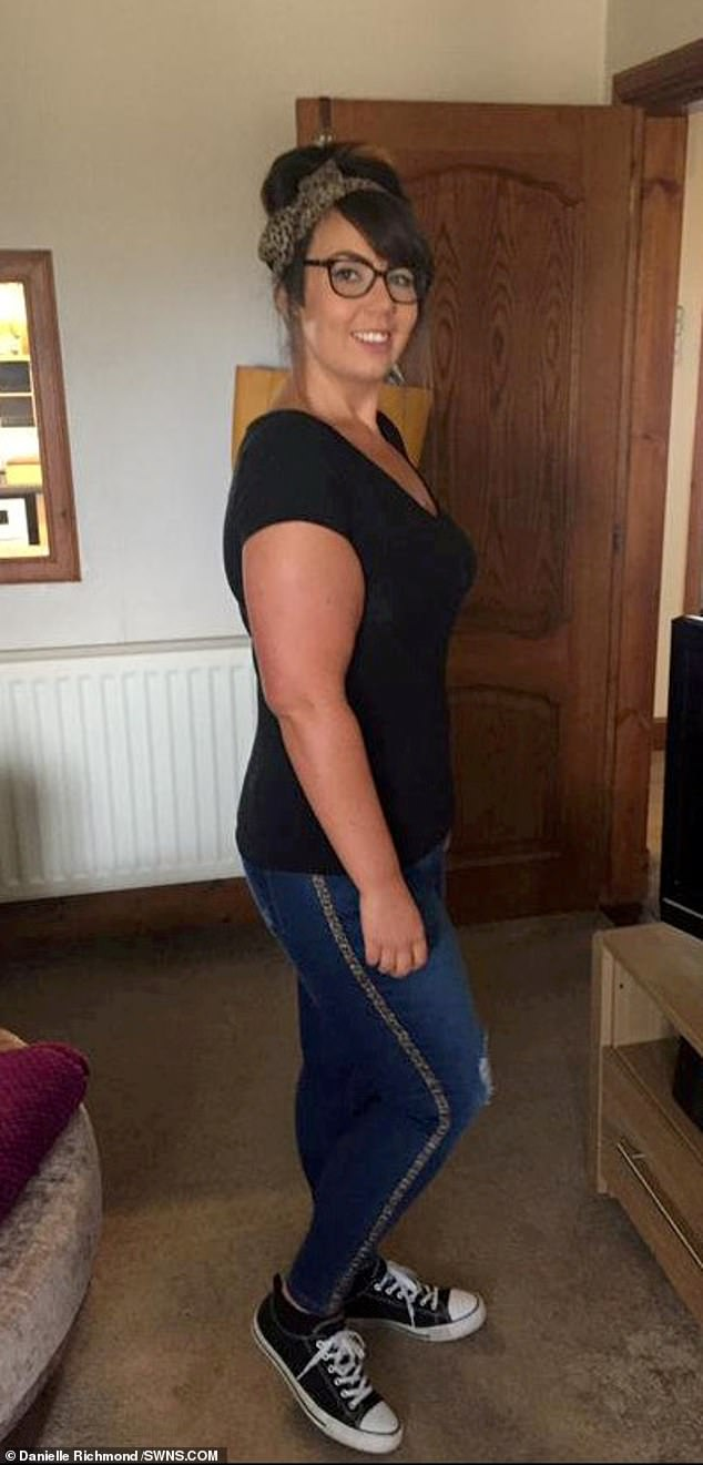 The 27-year-old shed almost nine stone and is now a healthy size 14 having ditched takeaways and junk food (pictured in September 2019)