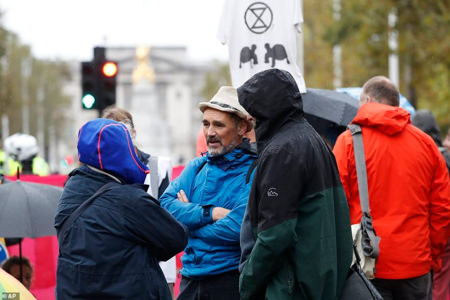 Actor Mark Rylance joined Extinction Rebellion protesters in The Mall where supporters of the environmental group invaded during the Changing of the Guard
