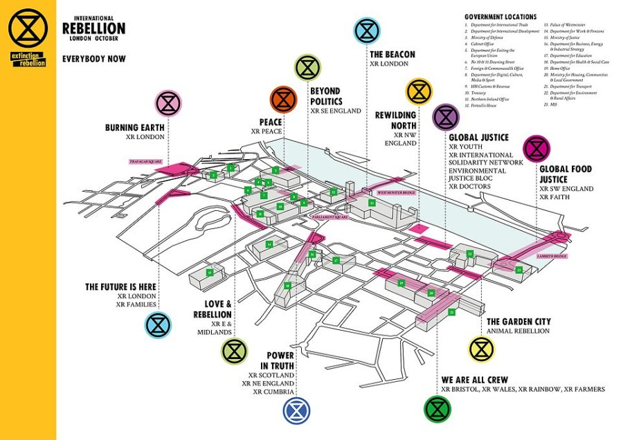 Extinction Rebellion posted this graphic online showing where their intended targets would be and where their various groups would gather