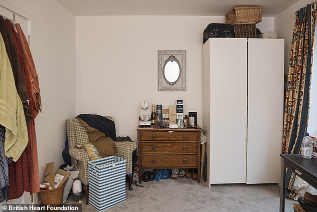 Interior Designer Lynne Lambourne said: 'Giving this home an entire charity shop makeover was a fantastic challenge. The shops are like treasure troves where you can find really individual pieces that will give a home its own personal style'. Pictured: Bedroom 4 before