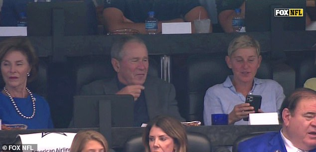 Ellen DeGeneres defended herself after coming under fire for sitting next to former president George W. Bush at Sunday's Dallas Cowboys football game